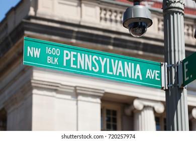 WASHINGTON, DC - AUGUST 20: Street sign near the White House in Washington, DC on August 20, 2017.