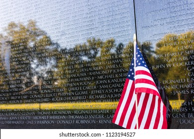 WASHINGTON, D.C. - August 27, 2015: The Vietnam Veterans Memorial, a national memorial that honors service members of the U.S. armed forces who fought in the Vietnam War
