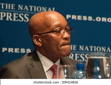 WASHINGTON, DC - AUGUST 4, 2014 -Jacob Zuma, President of the Republic of South Africa, speaks at a National Press Club Luncheon