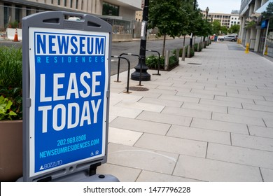 Washington, DC - August 5, 2019: Sign for the Newseum Residences, which are luxury apartments located near the journalism museum