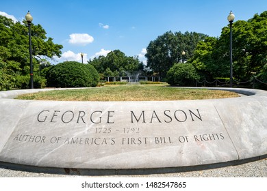 Washington, DC - August 6, 2019:Wide angle view of George Mason Memorial, the author of the Virginia Declaration of Rights that inspired the United States. Bill of Rights