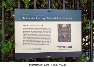 Washington, DC - August 8, 2019: The Embassy of Indonesia and Walsh-McLean Mansion sign gives information about the historic building and home