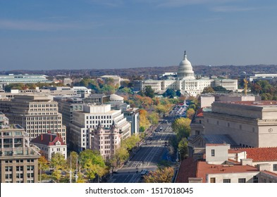 Washington DC in autumn - Pennsylvania Street with major government buildings and Capitol Hill