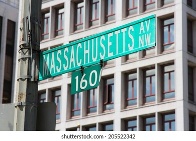 Washington DC, capital city of the United States. Massachusetts Avenue sign.