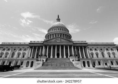 Washington DC, capital city of the United States. National Capitol building. Black and white tone - retro monochrome color style.