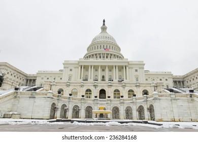 Washington DC - The Capitol Buildin in snow