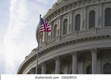 Washington DC , Capitol Building with American Flag - detail, US