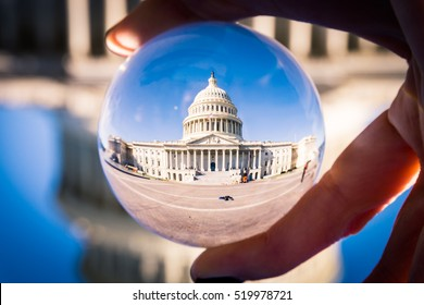 Washington DC Capitol Building Through Glass Sphere Perpsective
