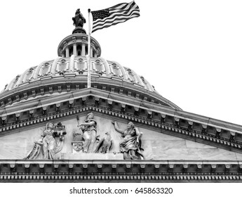 Washington DC Capitol dome close up detail in black and white. Isolated against white background with copy space