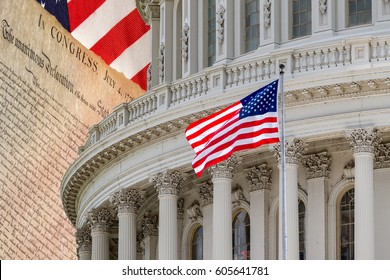 Washington DC capitol on American Declaration of independence 4th july 1776 on usa flag background
