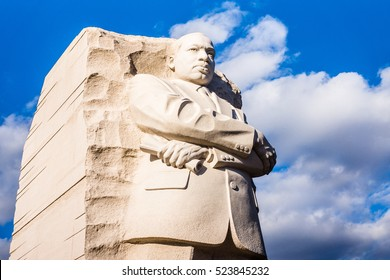 WASHINGTON DC - CIRCA JANUARY 2015: The Martin Luther King Jr. statue is a prominent feature on the National Mall in Washington DC.