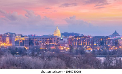 Washington, D.C. city skyline at twilight in USA