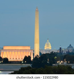 Washington DC city view  including Lincoln Memorial, Washington Monument and United States Capitol building