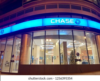 WASHINGTON, DC - DECEMBER 11, 2018: Exterior of Chase Bank retail branch. JPMorgan Chase is one of the largest banks in the United States.