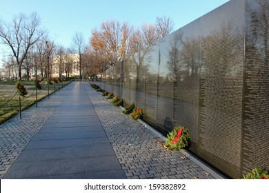 WASHINGTON, DC - DECEMBER 11:  Vietnam Veterans Memorial in Washington, DC as seen on December 11, 2011.  The wall includes over 58,000 names of servicemen and women who gave their lives in conflict.
