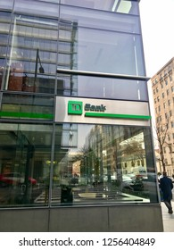 WASHINGTON, DC - DECEMBER 12, 2018: Exterior of TD Bank retail branch. TD Bank is a subsidiary of Canadian Toronto-Dominion Bank.