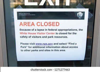 WASHINGTON, DC - DECEMBER 26, 2018:  Sign at the White House Visitor Center states it is closed due a lapse in federal appropriations.