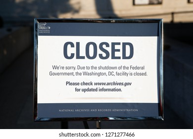 WASHINGTON, DC - DECEMBER 26, 2018:  Sign at the visitor's entrance of the US National Archives states it is closed due to the government shutdown.