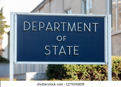 WASHINGTON, DC - DECEMBER 26, 2018: Sign outside of the Department of State which is unusually quiet due to the partial government shutdown.