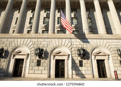 WASHINGTON, DC - DECEMBER 26, 2018:  The Department of Commerce Headquarters shows little activity due to the partial government shutdown.