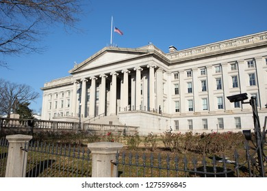 WASHINGTON, DC - DECEMBER 26, 2018:  The Department of the Treasury shows little activity due to the partial government shutdown.