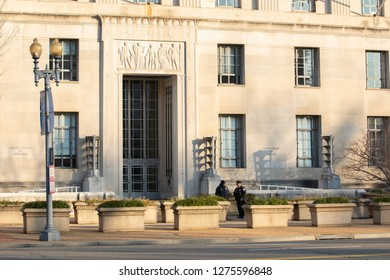 WASHINGTON, DC - DECEMBER 26, 2018:  The Department of Justice Headquarters shows little activity due to the partial government shutdown.