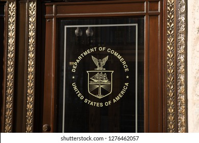 WASHINGTON, DC - DECEMBER 26, 2018: Logo on door at the Department of Commerce Headquarters. The agency is closed due to the partial government shutdown.