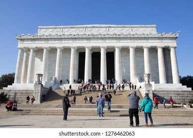 WASHINGTON, DC - DECEMBER 26, 2018: Tourists continue to visit the Lincoln Memorial despite the partial government shutdown. Efforts were made to keep as many national parks open as possible.