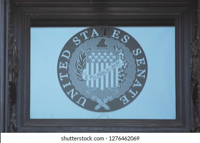 WASHINGTON, DC - DECEMBER 26, 2018: Seal of the United States Senate above the Ceremonial Senate Door at the US Capitol. Days earlier the Senate recessed despite a looming partial government shutdown.