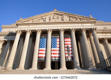 WASHINGTON, DC - DECEMBER 26, 2018: United States National Archives stands quiet in the morning sunshine. The agency is closed due to the partial government shutdown.