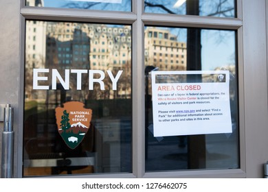 WASHINGTON, DC - DECEMBER 26, 2018:  Sign on the entrance to the White House Visitor Center states it is closed due a lapse in federal appropriations.