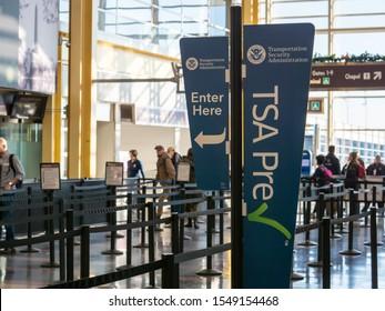 Washington, DC DECEMBER 26, 2018: TSA precheck fast lane line before security at Reagan National Airport