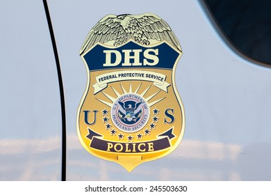 WASHINGTON, DC - DECEMBER 26: Department of Homeland Security emblem on a DHS Police car in Washington, DC on December 26, 2014.