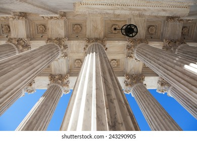 WASHINGTON, DC - DECEMBER 26: Pillars on the west facade of the Supreme Court Building in Washington, DC on December 26, 2014.