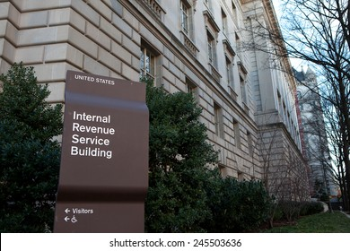WASHINGTON, DC - DECEMBER 26: Sign outside the Internal Revenue Service building in downtown Washington, DC on December 26, 2014.