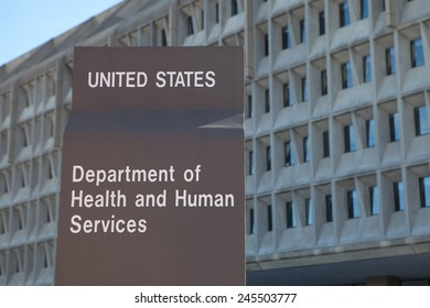 WASHINGTON, DC - DECEMBER 26: Sign outside the Department of Health and Human Services building in downtown Washington, DC on December 26, 2014.
