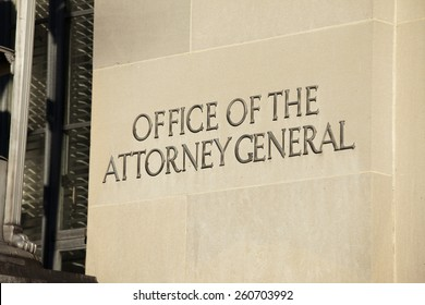 WASHINGTON, DC - DECEMBER 26: Sign outside the Office of the Attorney General located in the Department of Justice Building in downtown Washington, DC on December 26, 2014.