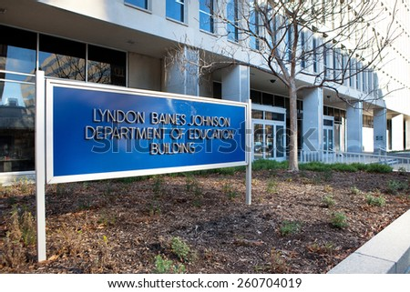 WASHINGTON, DC - DECEMBER 26: Sign outside the Lyndon Baines Johnson Department of Education Building in downtown Washington, DC on December 26, 2014.