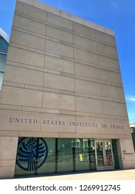 WASHINGTON, DC - DECEMBER 29, 2018: Exterior of the United States Institute of Peace headquarters building with sign.