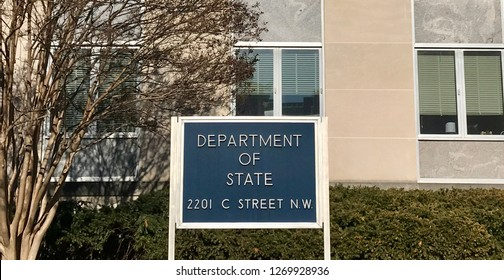 WASHINGTON, DC - DECEMBER 29, 2018: United States Department of State headquarters building sign.