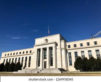 WASHINGTON, DC - DECEMBER 29, 2018: Exterior of the Federal Reserve headquarters building.