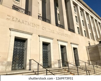 WASHINGTON, DC - DECEMBER 29, 2018: Exterior of the main office building, entrance to the United States Department of the Interior.