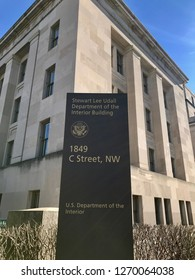 WASHINGTON, DC - DECEMBER 29, 2018:  Sign at United States Department of the Interior, main office building.