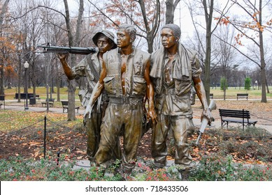 Washington, DC - December 30, 2007: Vietnam Wall Three Men Soldier Statue in the Mall in Washington DC.