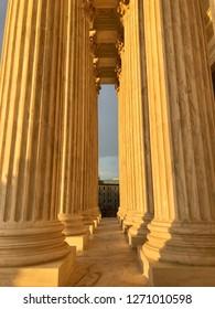 WASHINGTON, DC - DECEMBER 30, 2018: US Supreme Court building columns pillars at sunset.