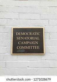 WASHINGTON, DC - DECEMBER 30, 2018: Sign / Plaque at Democratic Senatorial Campaign Committee headquarters building. United States Senate Democrats.