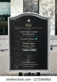 WASHINGTON, DC - DECEMBER 30, 2018: Sign at Hart Senate Office Building. The building houses offices for US Senators.