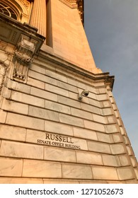 WASHINGTON, DC - DECEMBER 30, 2018: Sign at Russell Senate Office Building. The building houses offices for US Senators.