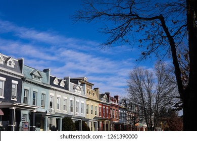 Washington, D.C. - December 8, 2018: A neighborhood view of colorful townhouses and apartments on Lamont Street, NW in Petworth near Georgia Avenue.