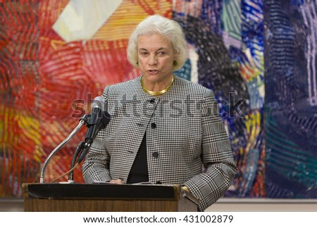 WASHINGTON, DC  - DECEMBER 9, 2004: U.S. Supreme Court Justice Sandra Day O'Connor speaks to jurors during American Bar Association's American Jury Initiative, media event, at Moultrie Courthouse.